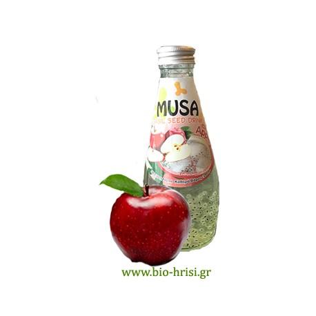 Χυμό με σπόροι βασιλικού - μήλο